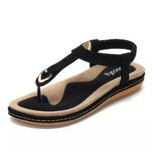 SOCOFY Black Flat Beach Sandals US Size 9 NEW!